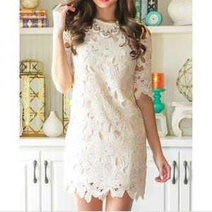 Red Dress Boutique cream floral lace shift dress
